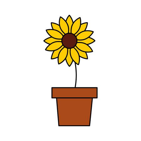potted flower nature decoration ornament vector illustration