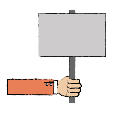 hand human with protest banner vector illustration design