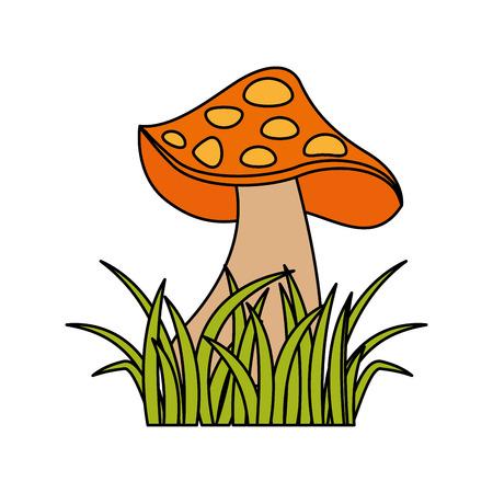 herfst pictogram champignons in gras natuur symbool vector illustratie