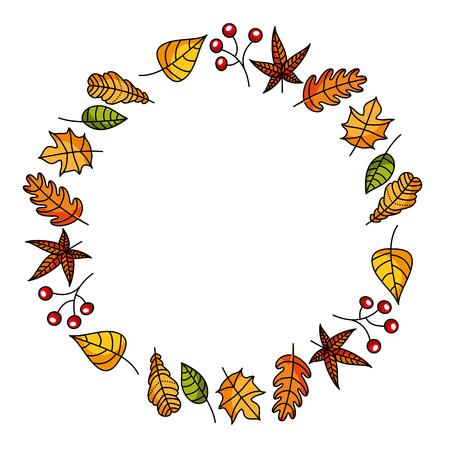krans van herfstbladeren en fruit mooie ronde vectorillustratie