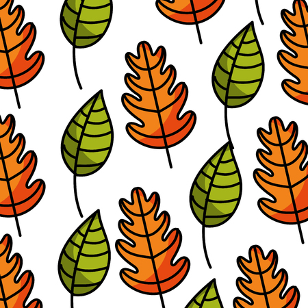 autumn background: autumn seamless pattern with leaves branches and berries natural vector illustration