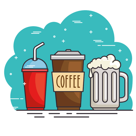 hot and cold drink vector illustration graphic design