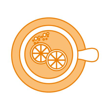 cup of tea with slice lemon refreshment liquid vector illustration 向量圖像