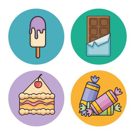 Set van snoep icoon vector illustratie grafisch ontwerp