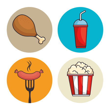 set of fast food vector illustration graphic design