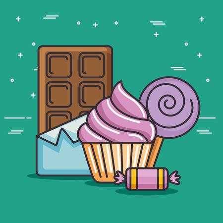 Lekker en kleurrijk snoep vectorillustratie grafisch ontwerp