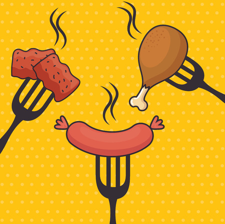 fast food chicken and sausage vector illustration graphic design