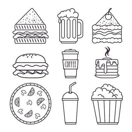 set of fast food icon vector illustration graphic design