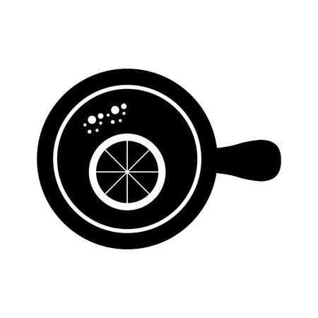 cup of tea with slice orange refreshment liquid vector illustration