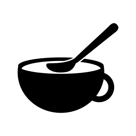 cup of beverage with spoon refreshment aroma liquid vector illustration