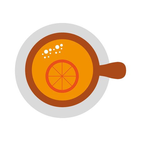 cup of tea with slice orange refreshment liquid vector illustration Reklamní fotografie - 86100609