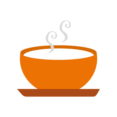 delicious soup bowl food of season autumn vector illustration