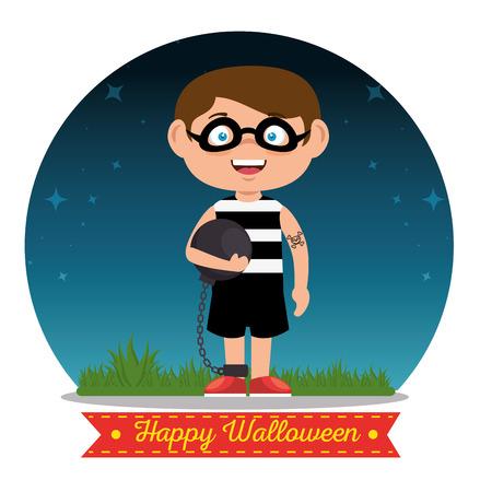 growling: children wearing halloween custome vector illustration graphic design Illustration