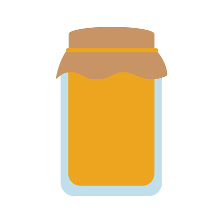 glass jar with golden cap filled with honey vector illustration Illustration