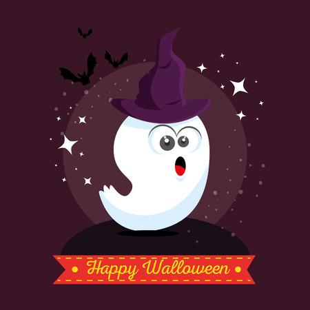autumn background: cute ghost happy halloween cartoon vector illustration graphic design