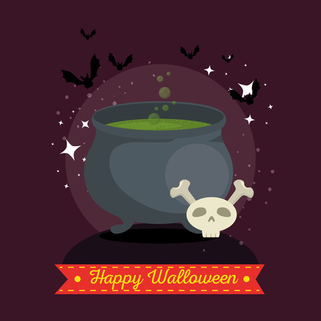 witches cauldron with green potion vector illustration graphic design