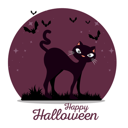 cute black cat happy halloween vector illustration graphic design