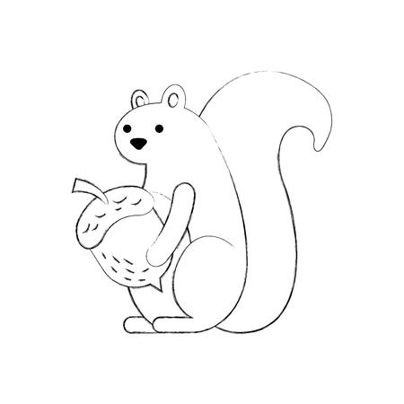 autumn background: autumn season squirrel with acorn animal forest vector illustration