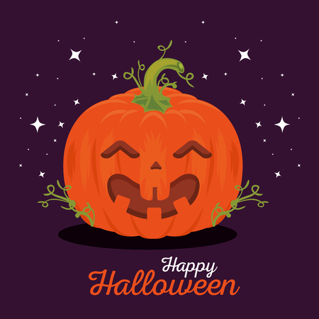 happy halloween pumpkins vector illustration graphic design