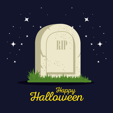 gravestone halloween cartoon vector illustration graphic design