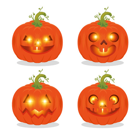 set of happy halloween pumpkins vector illustration graphic design
