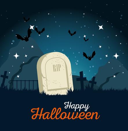 gravestone halloween cartoon vector illustration graphic design