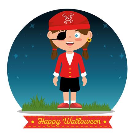 ハロウィン カスタム ベクトル イラスト グラフィック デザインを着て子供たち  イラスト・ベクター素材