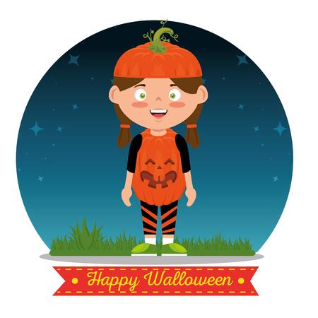 children wearing halloween custome vector illustration graphic design Ilustrace