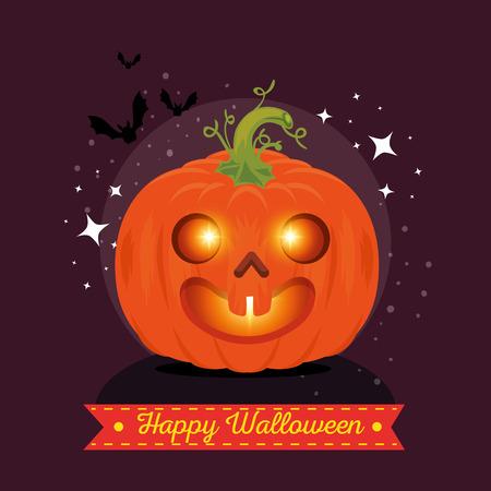 happy halloween pumpkins vector illustration graphic design