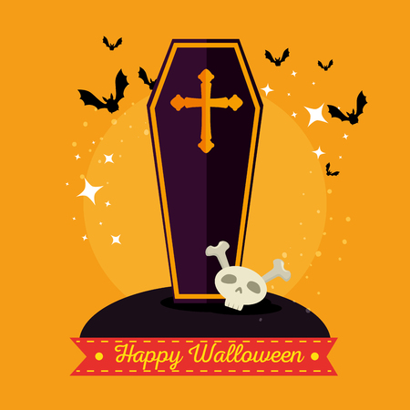 wooden coffin with a cross happy halloween vector illustration graphic design