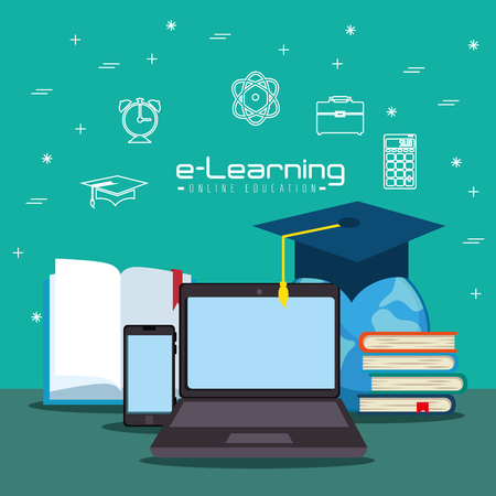 digital background: online education concept vector illustration graphic design