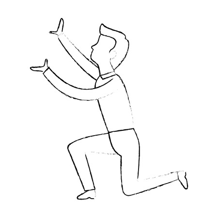 successful businessman declaiming avatar character vector illustration design