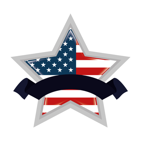 star with united states of america flag 向量圖像