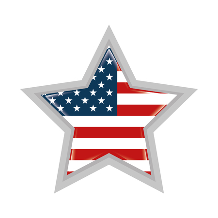 star with united states of america flag Çizim