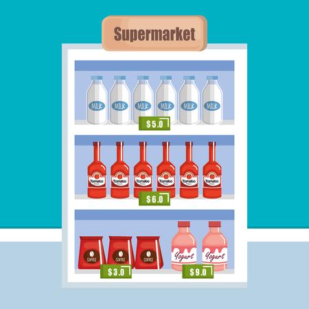 Supermarket shelf with products vector illustration design. Çizim