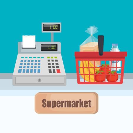 Supermarket cash register with shopping basket vector illustration design.