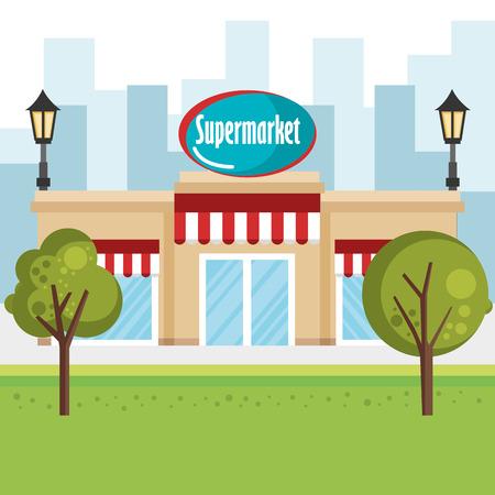 Supermarket building scene icon vector illustration design Illustration