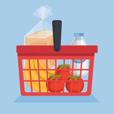 basketful: Shopping basket with supermarket products vector illustration design