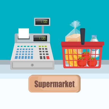 Supermarket cash register with shopping basket vector illustration design Ilustração
