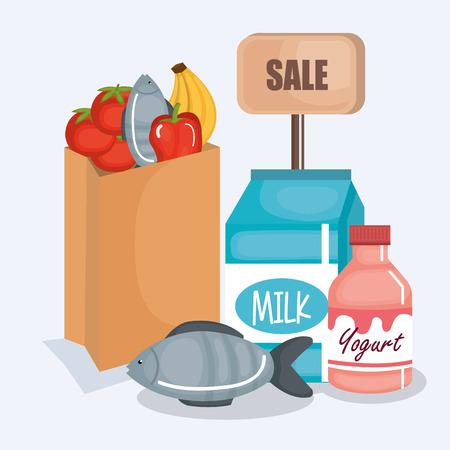 슈퍼마켓 제품 아이콘 벡터 일러스트 디자인 설정