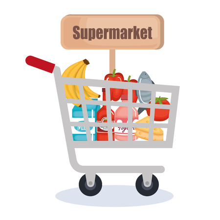 Supermarket shopping cart with products vector illustration design Illustration