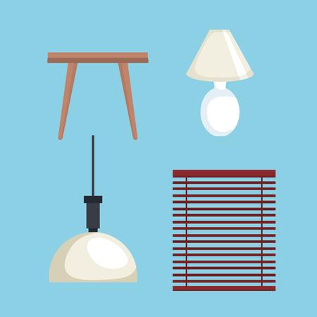 Living room set icons vector illustration design 向量圖像
