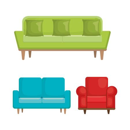 Living room set icons vector illustration design Ilustração
