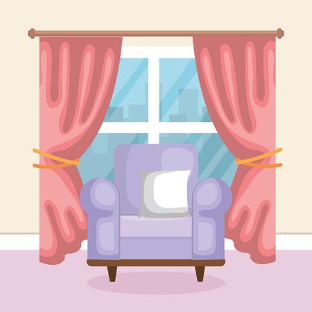 courtain: Living room scene icon vector illustration design