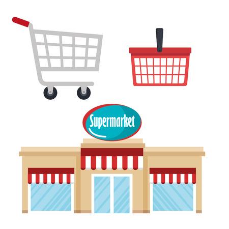 Supermarket building with basket and cart shopping vector illustration design