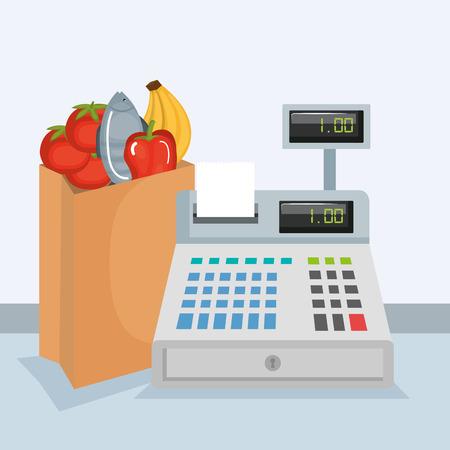 Caisse enregistreuse de supermarché avec des produits vector illustration design Banque d'images - 86159491