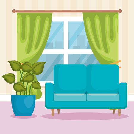 Livingroom scene icon vector illustration design