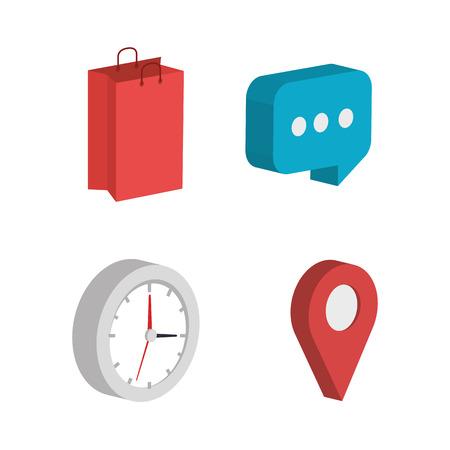business set isometrics icons vector illustration design
