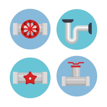 plumbing line tools set icons vector illustration design