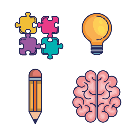 brain storming set icons vector illustration design